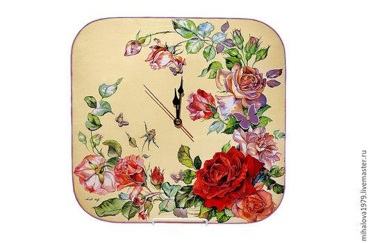Часы для дома ручной работы. Ярмарка Мастеров - ручная работа. Купить Часы настенные «Розы». Handmade. Часы, часы настенные