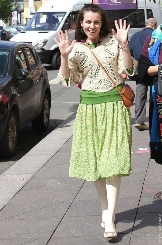 Юбка-татьянка шифоновая зеленая, миди