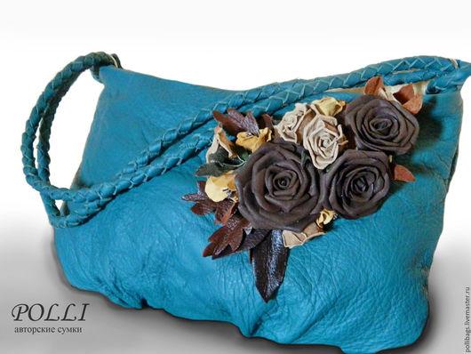 Женские сумки ручной работы. Ярмарка Мастеров - ручная работа. Купить Сумка кожаная с розами хобо морская волна. Handmade.