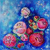 Картины и панно handmade. Livemaster - original item Space peonies oil painting. Handmade.