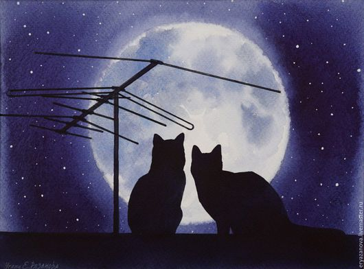 Животные ручной работы. Ярмарка Мастеров - ручная работа. Купить Картина акварелью Кошки на крыше. Handmade. Кошки, акварельная живопись