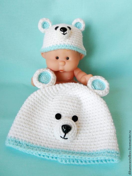 """Для новорожденных, ручной работы. Ярмарка Мастеров - ручная работа. Купить Шапочка для фотосессий """"Мишутка"""". Handmade. Разноцветный, бело-бирюзовый"""