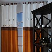 Для дома и интерьера ручной работы. Ярмарка Мастеров - ручная работа льняные шторы с вышивкой Оливки. Handmade.