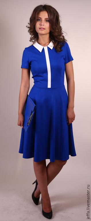 Платья ручной работы. Ярмарка Мастеров - ручная работа. Купить Платье из джерси арт.5348. Handmade. Синий, офисное платье