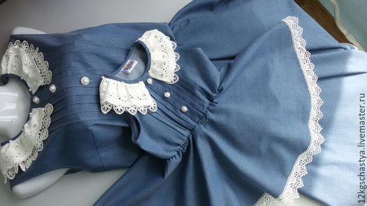 Платья ручной работы. Ярмарка Мастеров - ручная работа. Купить Одинаковые платья из джинсовой ткани с кружевом-2. Handmade. Голубой