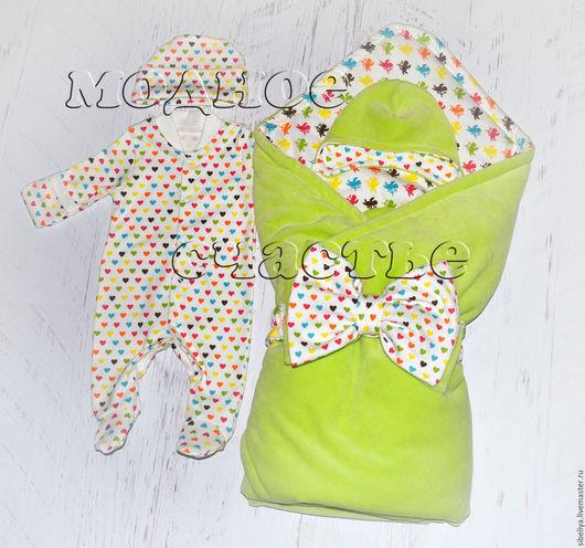 """Для новорожденных, ручной работы. Ярмарка Мастеров - ручная работа. Купить Комплект на выписку """"Ангелочки"""". Handmade. Салатовый, одеяло для новорожденного"""