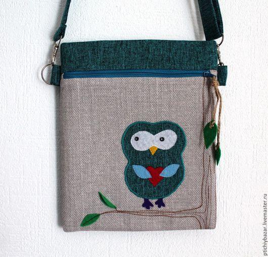 Маленькая сумка с аппликацией `Сова` из плотной костюмной ткани