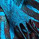 Заказать Бирюзово-шоколадный шёлковый шарф с геометрическим узором из шерсти. Ковылина Анна. Ярмарка Мастеров. . Шарфы Фото №3