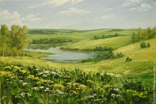 Пейзаж ручной работы. Ярмарка Мастеров - ручная работа. Купить Просторы. Handmade. Пейзаж, река, Поля, полевые цветы, берега