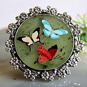 Украшения handmade. Livemaster - original item Florentine mosaic, silver: Moth ring