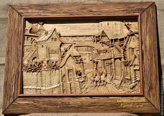Город ручной работы. Ярмарка Мастеров - ручная работа. Купить Старая Москва. Handmade. Коричневый, подарок, дерево липа