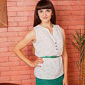 Одежда ручной работы. Ярмарка Мастеров - ручная работа Зеленая вязаная летняя юбка из хлопка. Handmade.