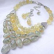 Украшения handmade. Livemaster - original item Necklace 3 strands and earrings - Grape prehnite beads.. Handmade.