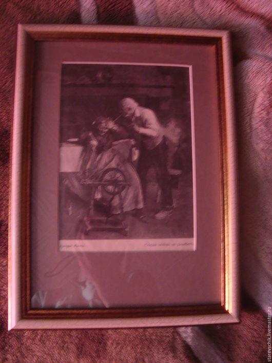 Винтажные предметы интерьера. Ярмарка Мастеров - ручная работа. Купить Литография старинная. Handmade. Комбинированный, история, стекло