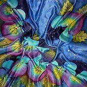 """Аксессуары ручной работы. Ярмарка Мастеров - ручная работа Батик платок """"Цветы любви """"90-90см.Атлас.натуральный шёлк.. Handmade."""