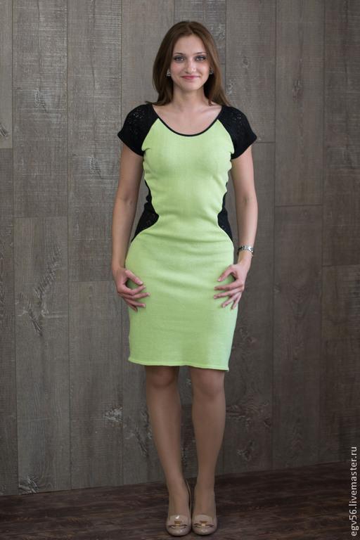 Платья ручной работы. Ярмарка Мастеров - ручная работа. Купить платье Натали. Handmade. Салатовый, платье вязаное, платье повседневное