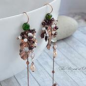 Украшения handmade. Livemaster - original item Copper Leaves earrings with stones and chains, long earrings boho. Handmade.