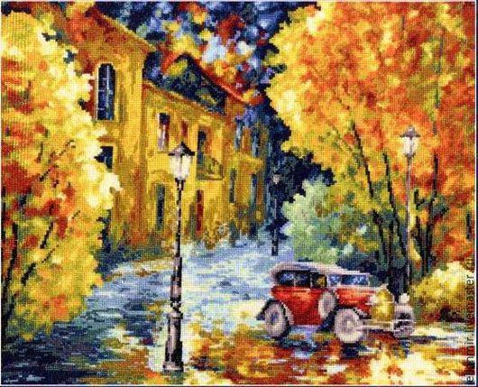 """Город ручной работы. Ярмарка Мастеров - ручная работа. Купить Картина вышитая крестиком """"Осенний марафон"""". Handmade. Разноцветный"""