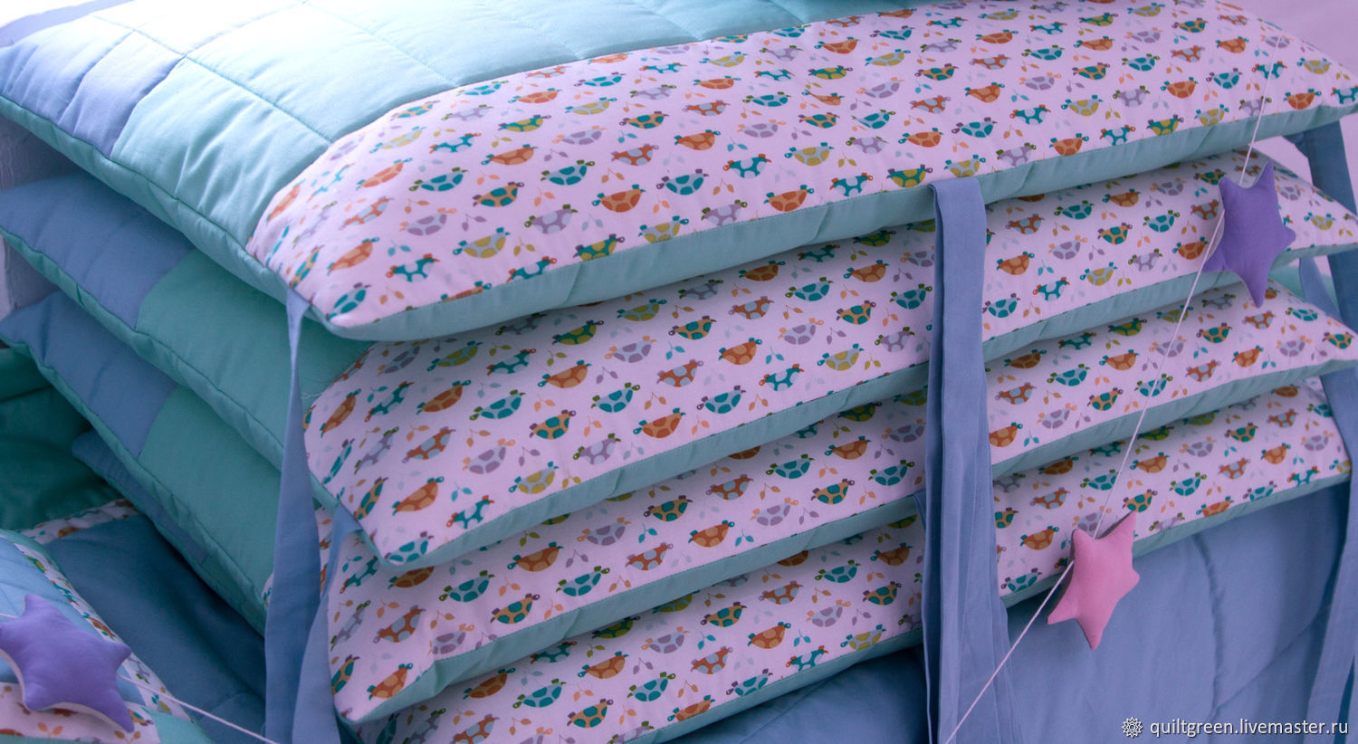 Kit with bumpers for children's cots 'Turtles', Sides for crib, St. Petersburg,  Фото №1