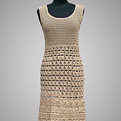 Одежда handmade. Livemaster - original item Crochet dress Lorraine. Beige handmade bohemian women summer dress. Handmade.