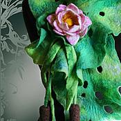 Аксессуары ручной работы. Ярмарка Мастеров - ручная работа Шарф с камышами и лотосом Зелёный валяный. Handmade.