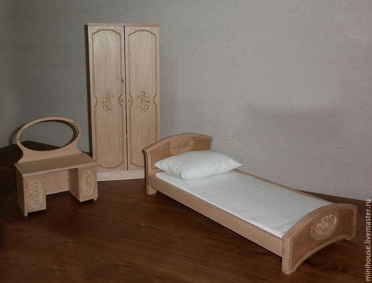 """Кукольный дом ручной работы. Ярмарка Мастеров - ручная работа. Купить Набор миниатюрной мебели """"Спальня"""". Handmade. Мебель из дерева"""