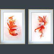 Картины ручной работы. Ярмарка Мастеров - ручная работа Купить картину акварелью с рыбами, рыбы акварелью, картина с рыбами. Handmade.