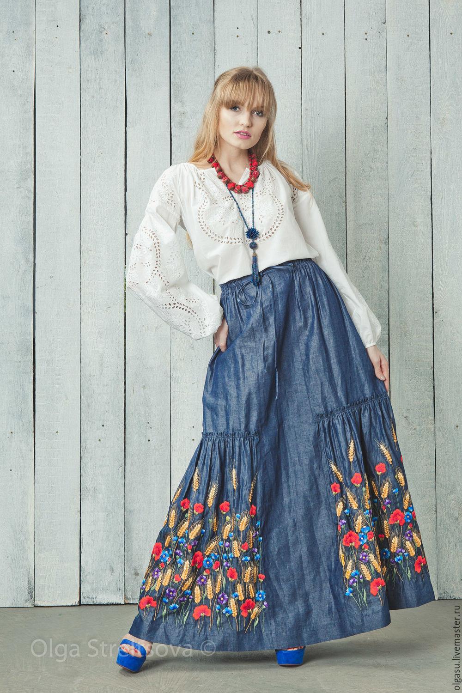 Джинсовые юбки в пол с вышивкой фото
