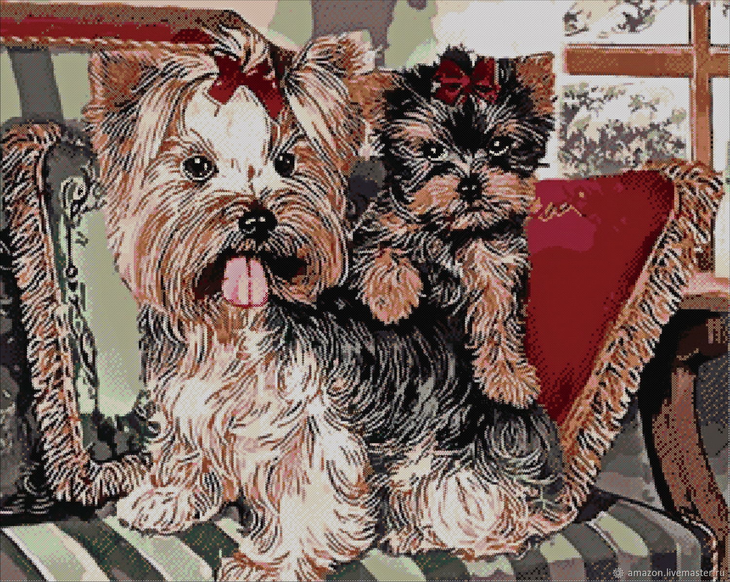 Kit embroidery with beads 'YORKSHIRE TERRIERS', Creator\'s Kit, Ufa,  Фото №1