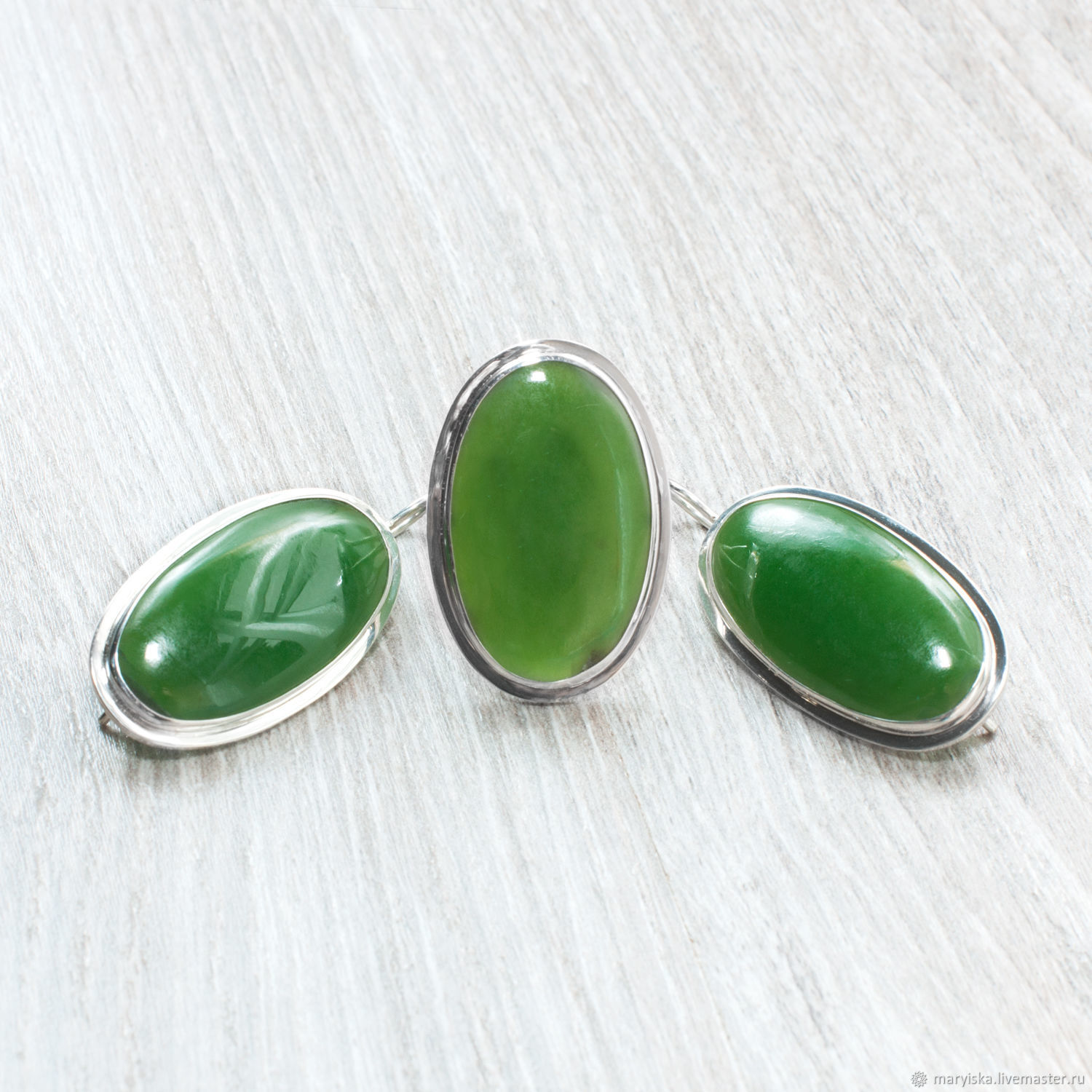 Jade (earrings and ring) (1123), Jewelry Sets, Tambov,  Фото №1