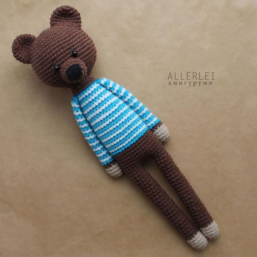 Игрушки животные, ручной работы. Ярмарка Мастеров - ручная работа. Купить Мишка в свитере. Вязаная игрушка Длинноногий мишка. Handmade.