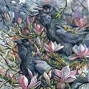 Картины и панно handmade. Livemaster - original item Pictures: Crows on Magnolia. Handmade.