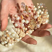 Свадебный салон handmade. Livemaster - original item Crown, tiara made of shells and pearls