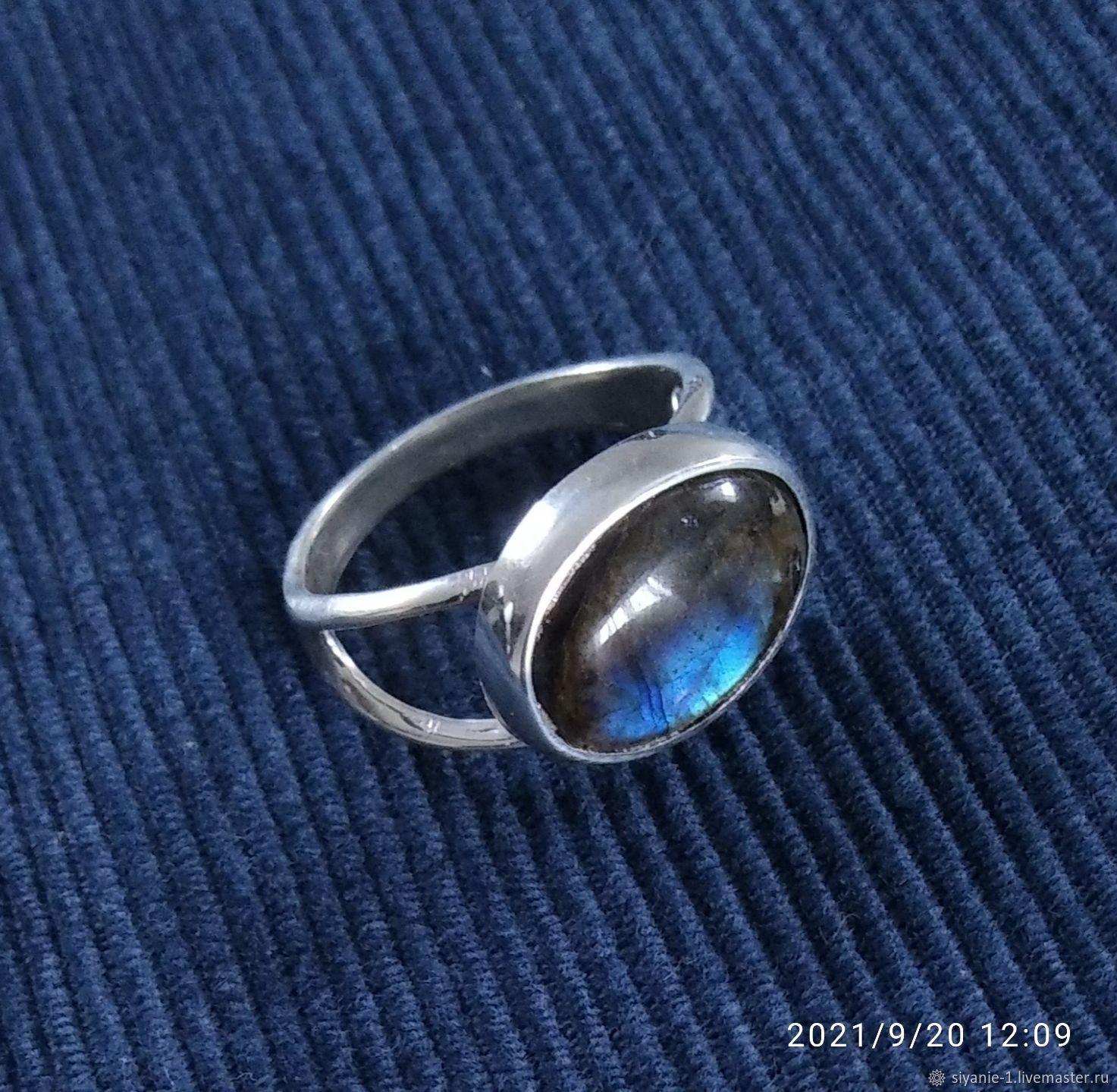 Кольцо серебряное с лабрадоритом, Кольца, Кострома,  Фото №1