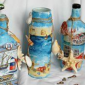 Посуда handmade. Livemaster - original item Bottles of 3 types sea element decoupage. Handmade.