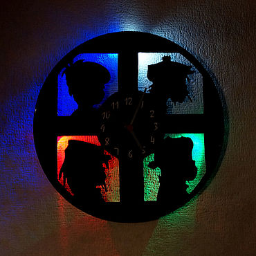 For home and interior handmade. Livemaster - original item Wall clock with led light from the album Gorillaz. Handmade.