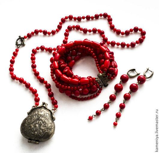 Колье, бусы ручной работы. Ярмарка Мастеров - ручная работа. Купить Сотуар винтажный из красного коралла. Handmade. Ярко-красный