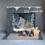 Подарки к праздникам ручной работы. Ярмарка Мастеров - ручная работа Новогодняя открытка Подарки под ёлку. Handmade.