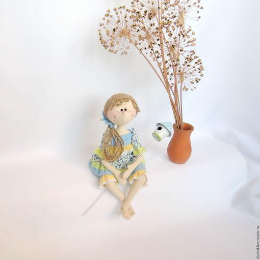 """Куклы тыквоголовки ручной работы. Ярмарка Мастеров - ручная работа. Купить Текстильная кукла """" Весна"""". Handmade. Голубой"""