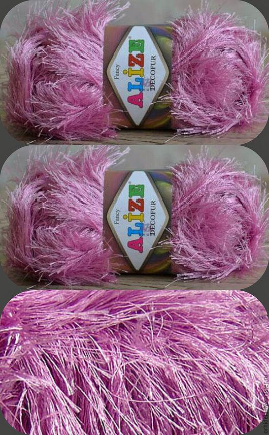 Вязание ручной работы. Ярмарка Мастеров - ручная работа. Купить Пряжа -травка  DECOFUR ALIZE  (Декофур ). Handmade. Розовый