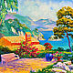 """Пейзаж ручной работы. Ярмарка Мастеров - ручная работа. Купить Картина со средиземноморьем """"Сад в Коста Браве"""" (холст, масло). Handmade."""