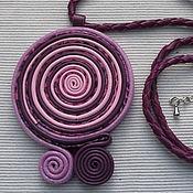 Украшения ручной работы. Ярмарка Мастеров - ручная работа Сиреневая подвеска на плетёном кожаном шнурке. Handmade.