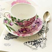 Посуда ручной работы. Ярмарка Мастеров - ручная работа Роспись фарфора Чайная пара Пион. Handmade.