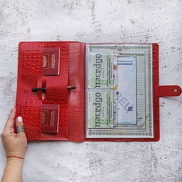 Канцелярские товары ручной работы. Ярмарка Мастеров - ручная работа Органайзер А4 для документов на кнопке Крокодил красный. Handmade.