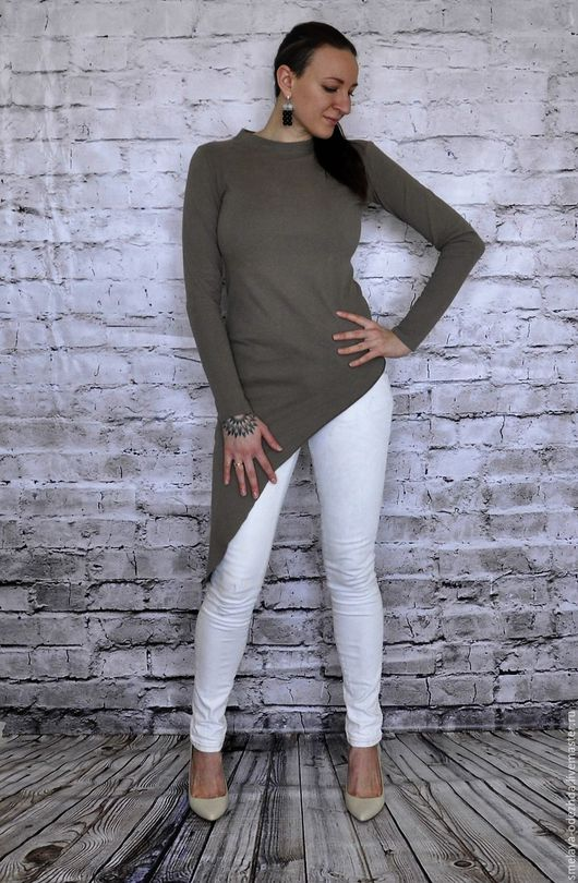 Кофты и свитера ручной работы. Ярмарка Мастеров - ручная работа. Купить Бежевый лонгслив - стильная асимметричная кофта, облегающий свитер. Handmade.