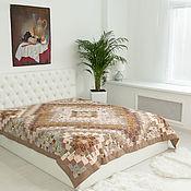 handmade. Livemaster - original item Patchwork Beige 220x225cm CUSTOM double bedspread. Handmade.