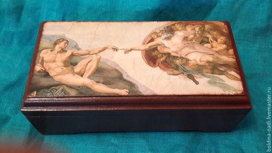 """Шкатулки ручной работы. Ярмарка Мастеров - ручная работа. Купить Микеланджело """"Сотворение Адама"""". Handmade. Коричневый, рим, шкатулка деревянная"""
