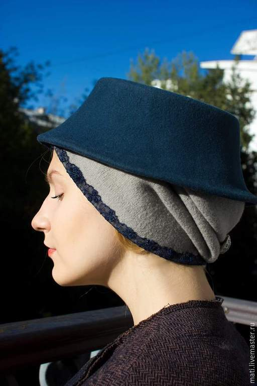 """Шляпы ручной работы. Ярмарка Мастеров - ручная работа. Купить Шляпа """" Мадонна"""". Handmade. Тёмно-синий, шерсть"""