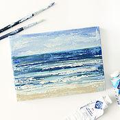 Картины и панно ручной работы. Ярмарка Мастеров - ручная работа «Морской прибой» - картина маслом на холсте с морем 13/18. Handmade.