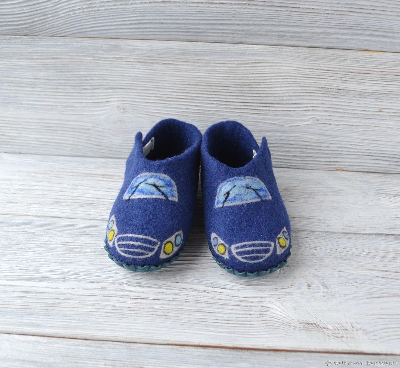 Валяные детские тапочки для мальчика Машинки, Обувь, Минск,  Фото №1
